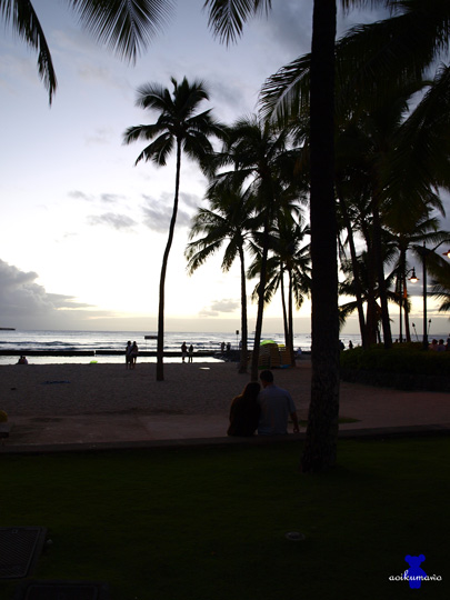 夕暮れのワイキキビーチ